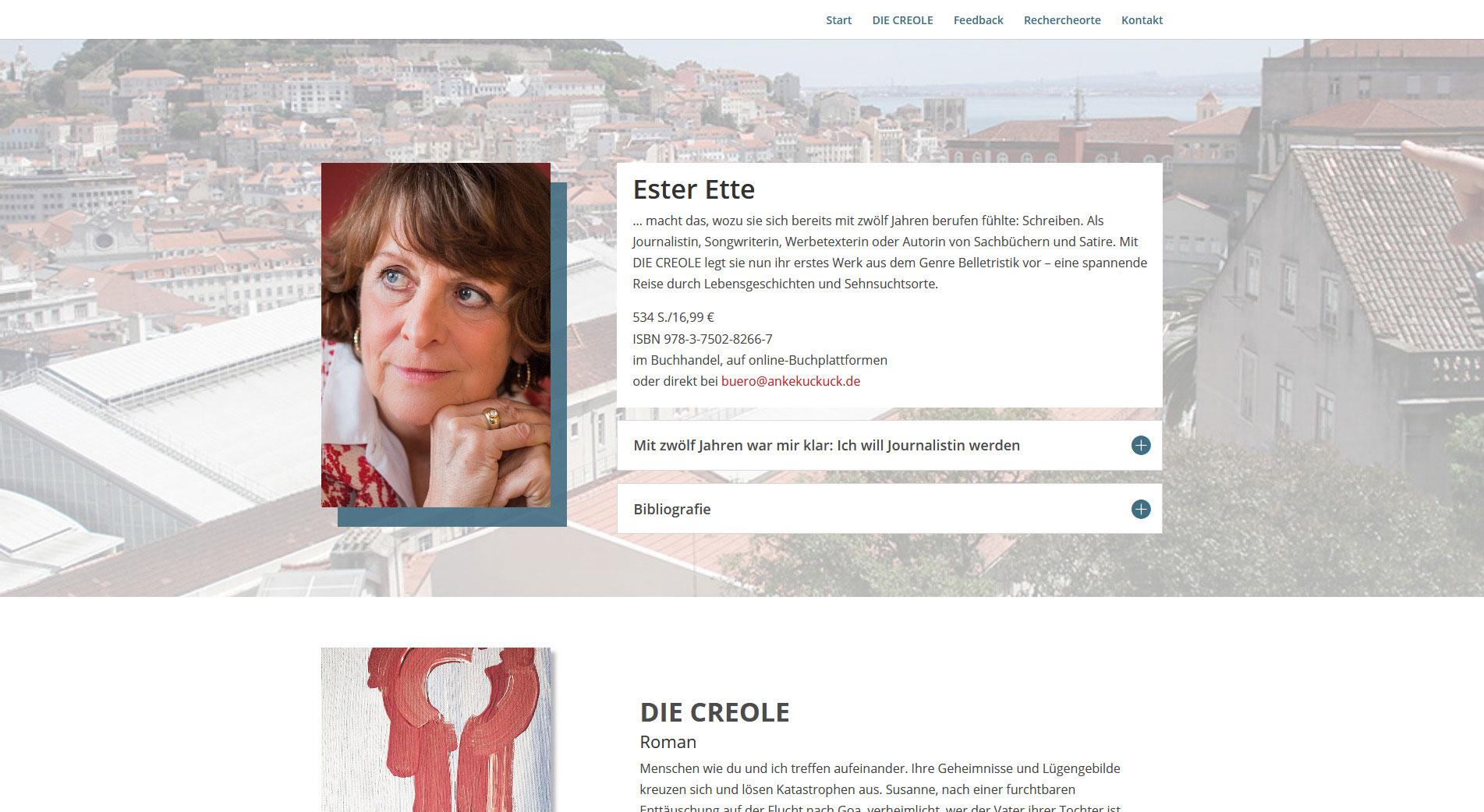 Screenshot Ester Ette - Schriftstellerin