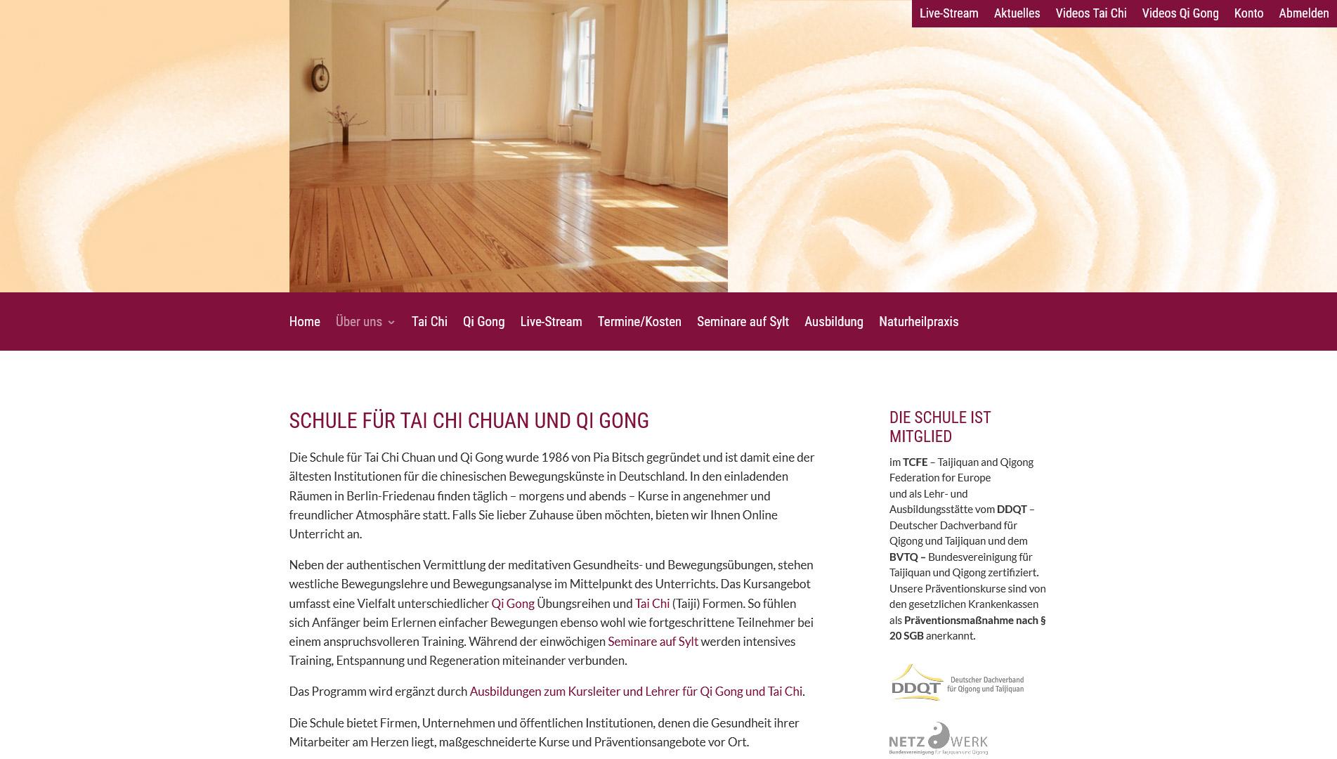 Screenshot Schule für Tai Chi und Qi Gong