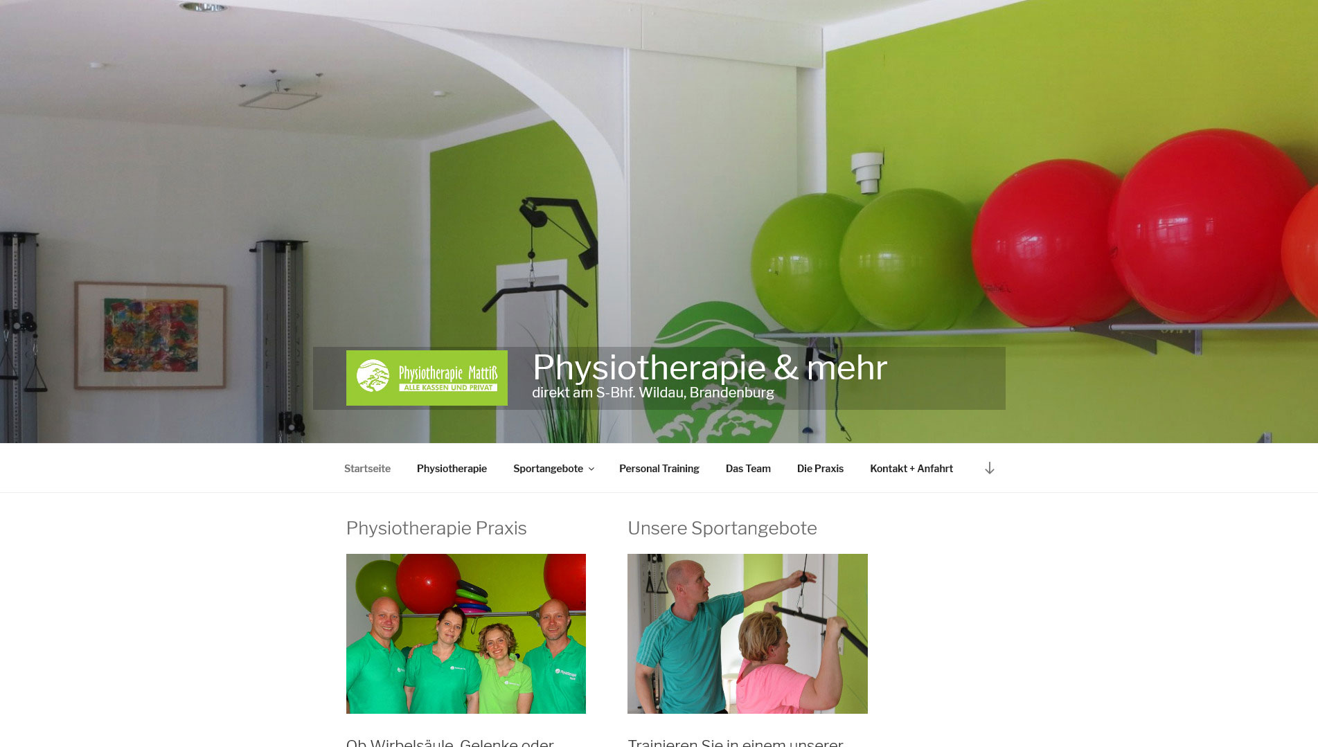 Screenshot Physiotherapie Mattiß, Wildau